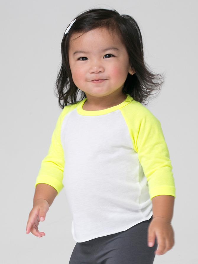 American Apparel Bb053 Infant Poly Cotton Three Quarter