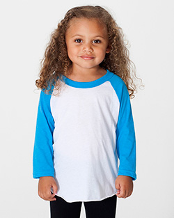 BB153W - Imported Kids Poly-Cotton 3/4 Sleeve Raglan
