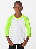 BB253W - Imported Youth Poly-Cotton 3/4 Sleeve Raglan