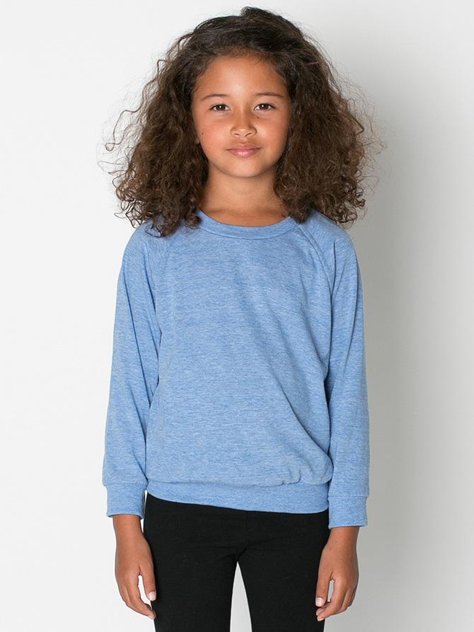 58d07b8fb American Apparel RSATR194 - Kids Tri-Blend Raglan Pullover